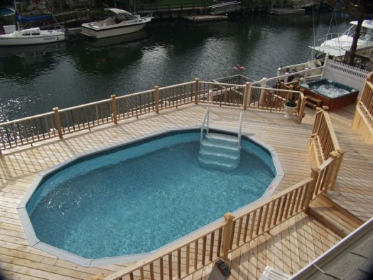 Multi level deck with hot tub and pool besthottubs for Above ground pool decks with hot tub