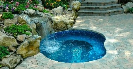 In-ground Spa with Waterfall: