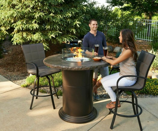 Bar Fire Pit: Raised fire pits can double as a bar for sitting. They also come with burner covers when you don't want a flame.