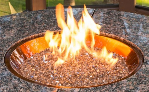 "Glass Fire Gems: The ""fire gems"" in these natural gas fire pits come in many shapes and sizes: round, diamond and crushed glass. To change the look of your fire pit you can mix sizes and change the color according to the seasons. For Fall, for example, you could choose a copper glass gem to give an amber appearance."