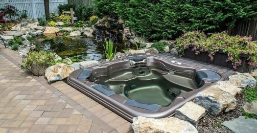 Backyard Pond and Spa: