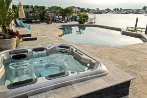 Travertine/Black Stone Hot Tub Surround (Long Island/NY):