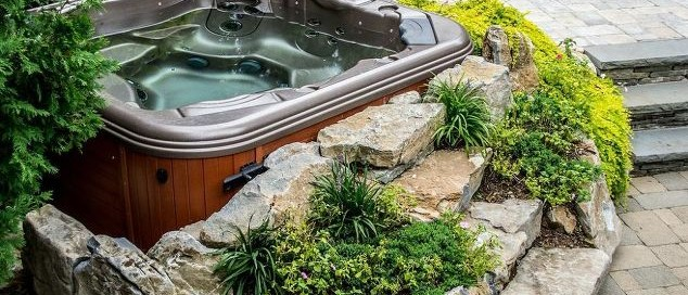 Set in garden hot tub installation