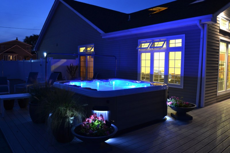 LED Interior Lighting: Even without recessing the hot tub into a deck, or creating a garden setting for it, a lighted spa on its own creates a beautiful scene at night. Interior LED custom packages are available -- as are floating LED lights, which can be purchased separately as inexpensive options.
