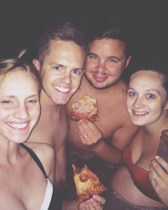 Hot Tub Pizza Party found on Instagram