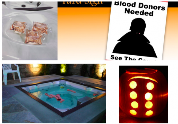 Hot Tub Halloween: (L-R) Pumpkin-Spiced Spa Scents; Lawn Posters; Spa Floaters (Fair-Lane Hotel); Carved Pumpkins