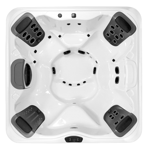 The R7 is classified as a medium hot tub, but feels much roomier on the inside. The R7 provides two comfortable corner captains chairs that each feature wrist, hip, and foot jets. In addition, each corner seat features a therapeutic JetPak of your choice. The R7 is more spacious with more features than any other medium hot tub in its class, making it perfect for most families, without breaking the budget.