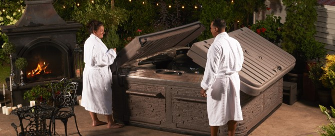 Cleaning Hot Tubs: As we mentioned above, and especially if the spa water hasn't been changed in a few months, just before the chilly weather arrives, drain and clean the hot tub. Photo: Strong Spas If you are cleaning your spa yourself, here's some steps for cleaning a Strong Spa — one of the spas we have in stock:
